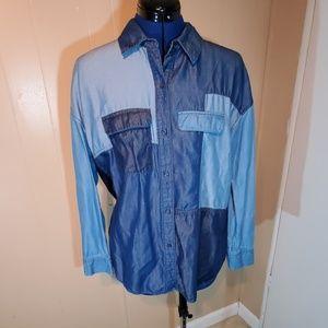 A.N.A Patchwork Denim Look Shirt